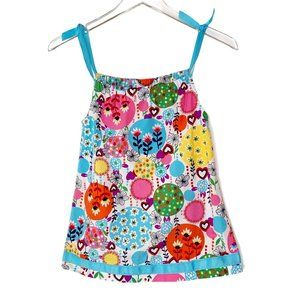 Hanna Andersson Girls Ribbon Strap Floral Dress 3T